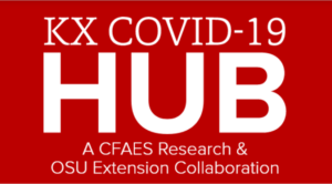 "white text reading ""KX COVID HUB"" with red background"